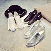 一腳蹬鏤空樂福鞋鬆糕厚底單鞋坡跟內增高小白鞋休閒鞋透氣女鞋夏 【PINK Q】