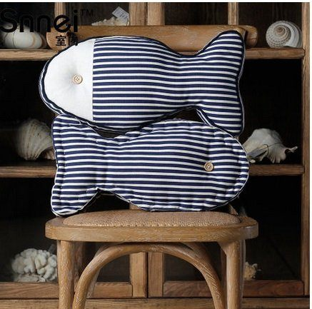 比目魚布藝抱枕 沙發客廳藍白紋靠墊2個組