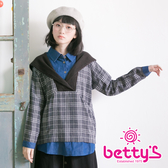 betty's貝蒂思 異材質拼接格紋連帽假三件式上衣(灰色)