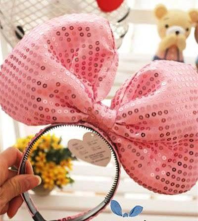 【發現。好貨】超大亮片蝴蝶結髮箍頭飾 米妮髮飾 生日派對表演造型