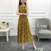 夏季新品波西米亞無袖人造棉連身裙女學生大尺碼棉綢碎花裙
