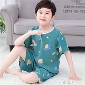 夏季兒童綿綢睡衣短袖短褲套裝棉綢男童女童小孩子寶寶薄款家居服 青木鋪子