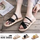 [Here Shoes] 涼拖鞋-純色簡約 百搭絨面質感 交叉鞋面 平底兩穿 涼鞋 拖鞋-AWH6