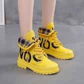 高筒鞋韓版翻領字母兩穿彈力繩系帶高筒鞋女年秋季新款運動風平底鞋 小天使
