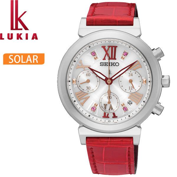 【萬年鐘錶】SEIKO LUKIA 華麗時尚 白錶面 晶鑽 三眼 計時 女錶 SSC851J1(V175-0DR0R)