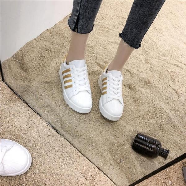 運動鞋 貝殼頭女生小白鞋2020爆款新款網紅單鞋百搭平底港風休閒運動板鞋 歐歐