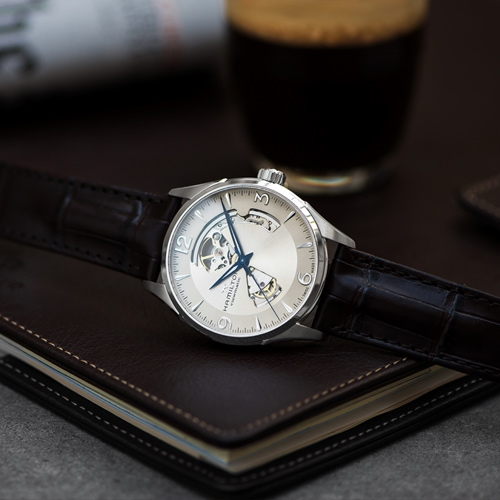 HAMILTON漢米爾頓JazzMaster系列開芯機械錶 H32705521 香檳色