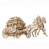 Ugears 自我推進模型 - 灰姑娘馬車 Stagecoach 來自烏克蘭.橡皮筋動力.機械驚奇 ! 科學玩具 強強滾