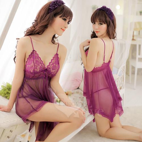 魅惑挑逗!蕾絲柔紗二件式性感睡衣(紫)情趣用品 男女前戲聖品