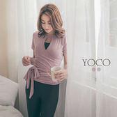 東京著衣【YOCO】美力女孩-交叉開口短袖芭蕾綁帶上衣-S.M(180348)