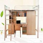 高架床上床下桌學生公寓床組合床上下鐵床員工宿舍帶書桌帶櫃子高低鐵床LX 【時尚新品】