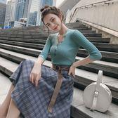 38折專區 韓國風針織衫復古格紋半身裙套裝短袖裙裝
