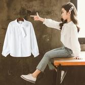 爆款熱銷女童襯衫童裝女小女孩襯衫女童洋氣公主襯衣春款兒童韓版白色長袖上衣聖誕節