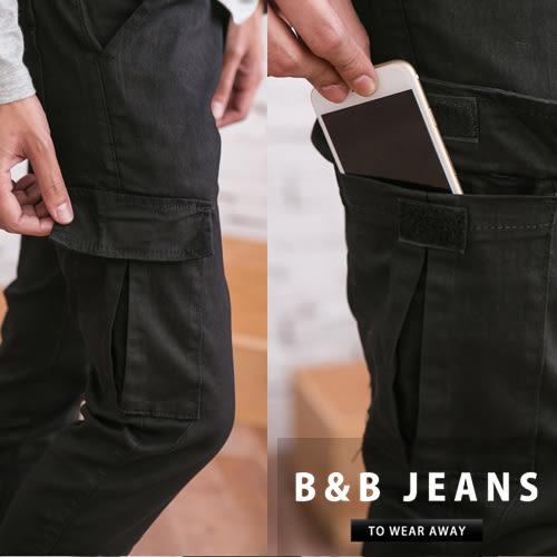 縮口褲.百搭素黑側邊口袋工作褲.束口褲