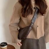 餃子包 vintage小眾設計牛角包 棕色紋理質感餃子包