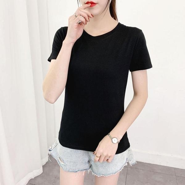 素色短袖t恤女夏季新款修身上衣棉質黑色半袖緊身白色打底體恤衫 童趣屋