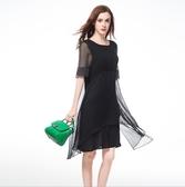 中大尺碼洋裝 雪紡A字顯瘦長款短袖兩件套連衣裙 L-5XL #yz11504 ❤卡樂❤