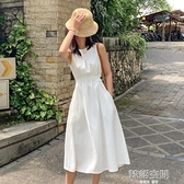 白色洋裝2021新款春夏法式設計感小眾無袖收腰a字顯瘦茶歇裙子連身裙