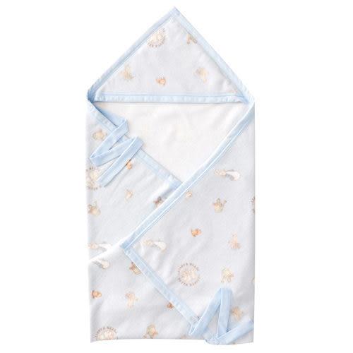 【奇買親子購物網】 奇哥比得兔 棉柔帽帶毯(85x100cm)-藍色/粉色