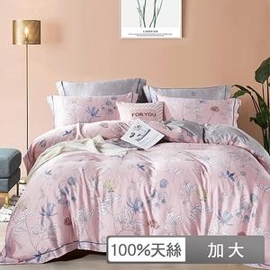 【貝兒居家】100%萊賽爾天絲兩用被床包組 麗影随行粉(加大雙人)