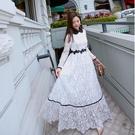 長裙女秋季新款韓版冷淡風長袖蕾絲洋裝收腰顯瘦大擺禮服裙 草莓妞妞