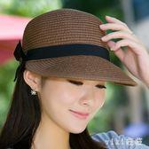 中大尺碼鴨舌帽帽子女草帽遮陽沙灘帽防曬太陽帽馬術帽夏季 nm4867【VIKI菈菈】