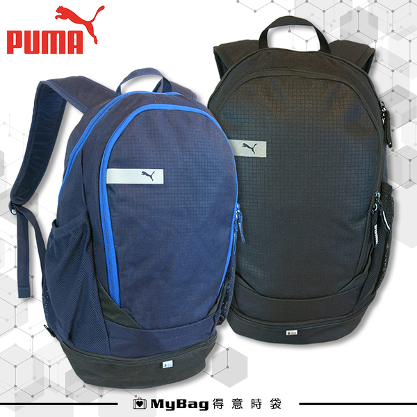 PUMA 後背包 黑色 運動後背包 大容量 運動包 反光設計 鞋子隔層 075491 得意時袋