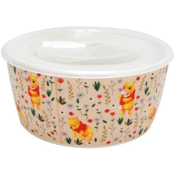 小禮堂 迪士尼 小熊維尼 陶瓷保鮮碗 附蓋 430ml (粉花草款) 4939560-52558