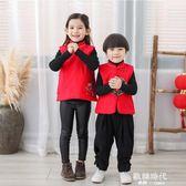 兒童唐裝拜年服嬰兒新年唐裝喜慶寶寶裝男女寶寶唐裝馬甲 歐韓時代