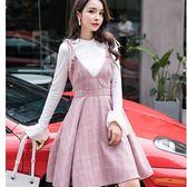 美之札[98708-QF]甜美格線深V美胸綁結A字下擺吊帶裙洋裝