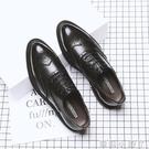夏季布洛克男鞋韓版英倫潮鞋休閒商務正裝皮鞋男士透氣黑色婚禮鞋【蘿莉新品】