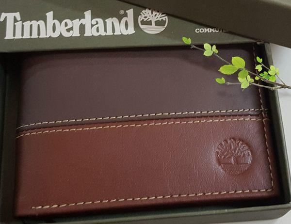【Timberland】男皮夾 短夾 牛皮夾 多卡夾 大鈔夾 品牌盒裝/雙色-可可+咖色