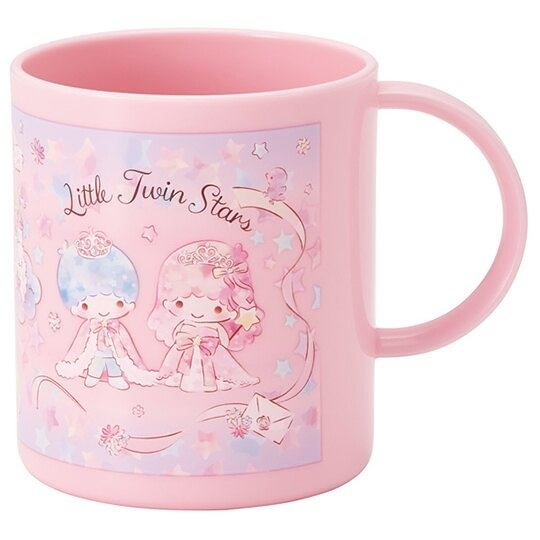 小禮堂 雙子星 單耳塑膠杯 兒童水杯 漱口杯 240ml (粉 獨角獸) 4973307-50068