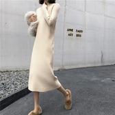 秋冬新款2019網紅女裝套頭韓版長款寬鬆百搭打底針織毛衣洋裝女-ifashion