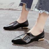 單鞋正韓百搭簡約時尚尖頭皮帶扣低跟豆豆鞋潮 全館八折柜惠