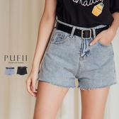 現貨◆PUFII-短褲 抽鬚牛仔短褲-附腰帶-0627 夏【CP16979】