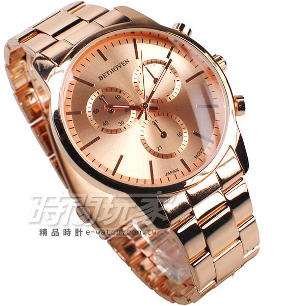 BETHOVEN 都會三眼 造型時刻 日本機芯 玫瑰金 男錶/大錶面/大錶盤/中性錶 BE2029全玫