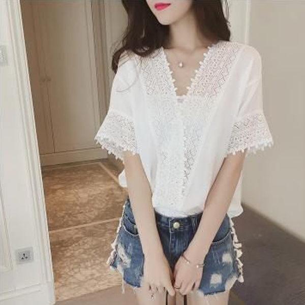 【GZ3E1】韓版上衣 寬鬆顯瘦蕾絲雪紡衫 V領鏤空 韓版上衣