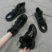 馬丁靴高筒潮鞋女馬丁靴秋季新款黑色百搭英倫風帥氣機車短靴薄款潮 愛丫愛丫