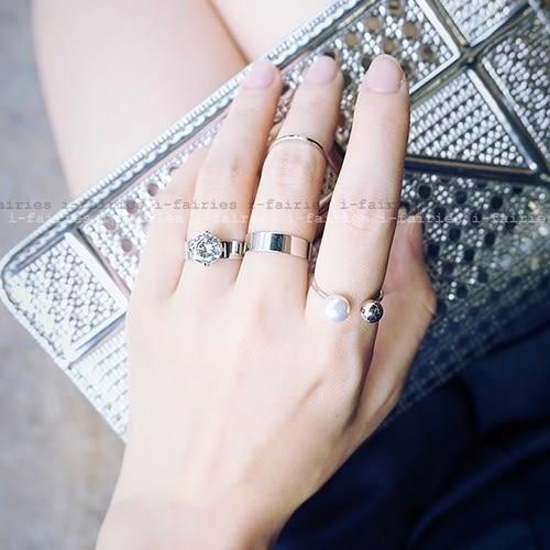 現貨+快速★戒指 混搭多件套鋯石戒指 四件套開口指環★ifairies【30336】
