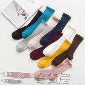 花邊襪子短襪日繫堆堆襪夏季薄款全棉女士月子純棉襪子鬆口中筒襪【奇貨居】