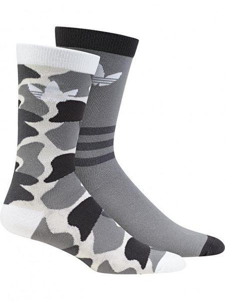 【折後$580】▶adidas 2 Pack Crew 三葉草 LOGO 黑灰迷彩 襪子 長襪 運動襪 2雙一組 DH1021