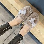 樂福鞋平底加絨單鞋懶人鞋樂福鞋毛毛鞋豆豆鞋水鉆蝴蝶結棉鞋女鞋羊羔毛 奈斯女裝