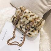 斜背包 ins時尚豹紋鍊條側背小方包女