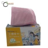 永猷3D立體兒童醫用口罩-粉色S(50入/盒)