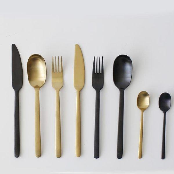 家居牛排刀叉西餐勺三件套不銹鋼餐具黑金復古歐式拉絲家用 概念3C旗艦店