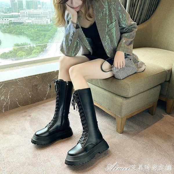長靴黑色機車靴女新款厚底中筒馬丁靴高筒保暖騎士靴加絨小腿靴 快速出貨