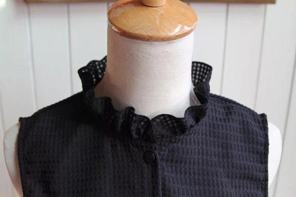 假領子領片 襯衫 必敗款質感立領荷葉邊洋裝針織大學T毛衣內搭預購黑色白色[E1039]春裝朵曼堤洋行