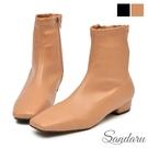 襪靴 車線柔軟拉鍊方頭低跟靴-卡其