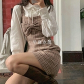 甜美法式少女蝴蝶結復古格紋毛呢背帶洋裝女A字裙2021新款 快速出貨